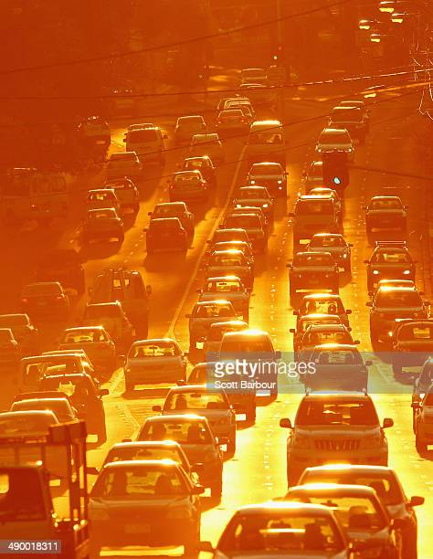 Rush hour traffic on a congested road as the sun sets on May 13, 2014 in Melbourne, Australia. Tony Abbott's Coalition government will deliver it's...
