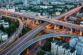 Rush hour traffic on multiple highways,Hangzhou,China