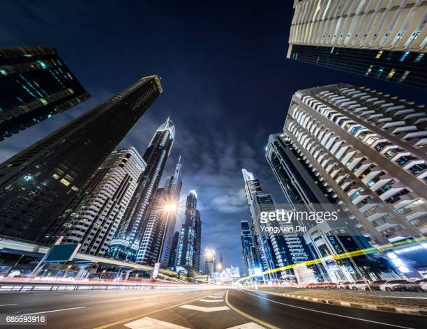 rush hour traffic on sheikh zayed road at night - topics stock pictures, royalty-free photos & images