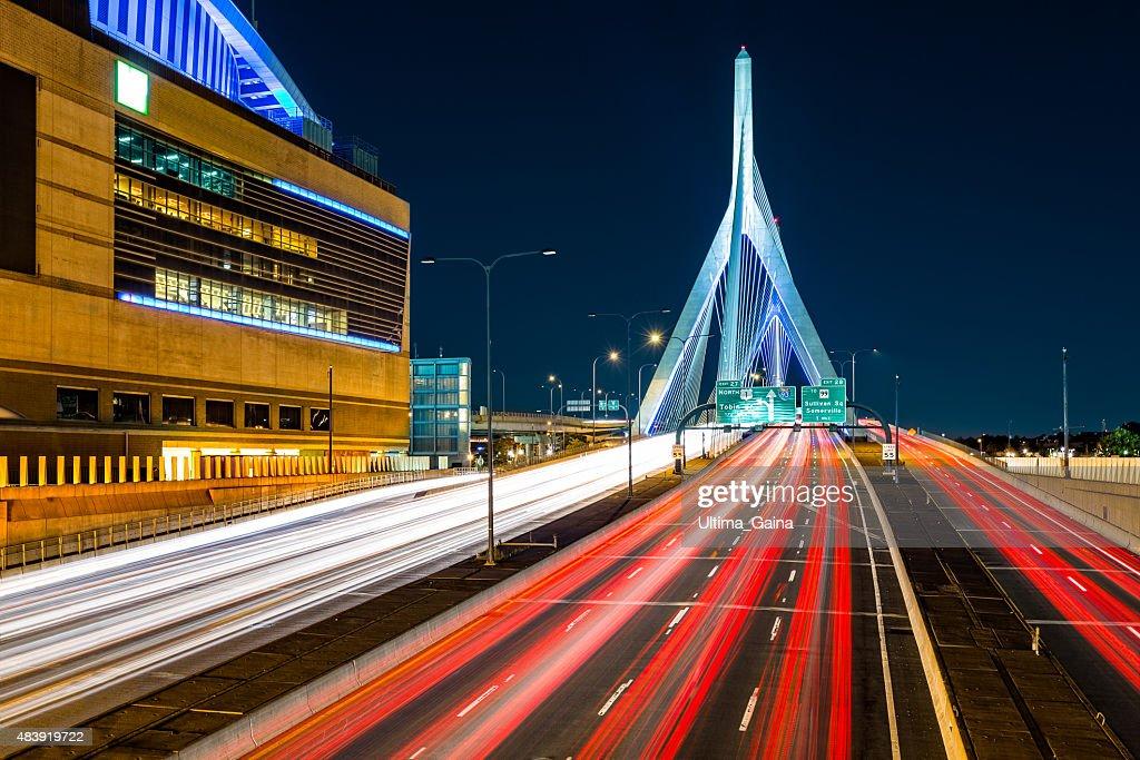 Rush hour traffic on Zakim bridge : Stock Photo