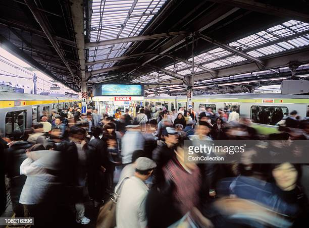 Rush hour with commuters changing trains in Tokyo
