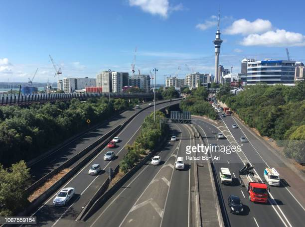 Rush Hours Traffic on Auckland Central Motorway New Zealand