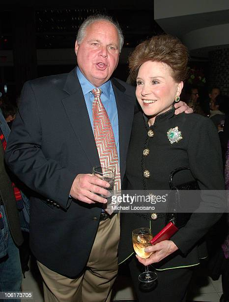 Rush Limbaugh and columnist Cindy Adams attend the HBO Films premiere of Bernard And Doris at the Time Warner Screening Room in New York City on...