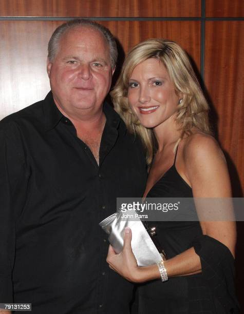 Rush Limbaugh and Kathryn Rogers arrive at the Ritz Carlton South Beach to attend the 2008 All Star Gala and Party to benefit the AROD Family...