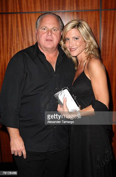 Rush Limbaugh and Kathryn Rogers arrive at the RitzCarlton South Beach to attend the 2008 All Star Gala and Party to benefit the AROD Family...