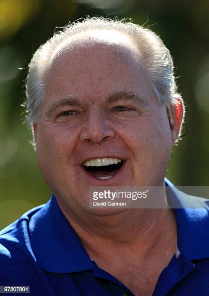 Rush Limbaugh during the Els for Autism ProAm on the Champions Course at the PGA National Golf Club on March 15 2010 in Palm Beach Gardens Florida