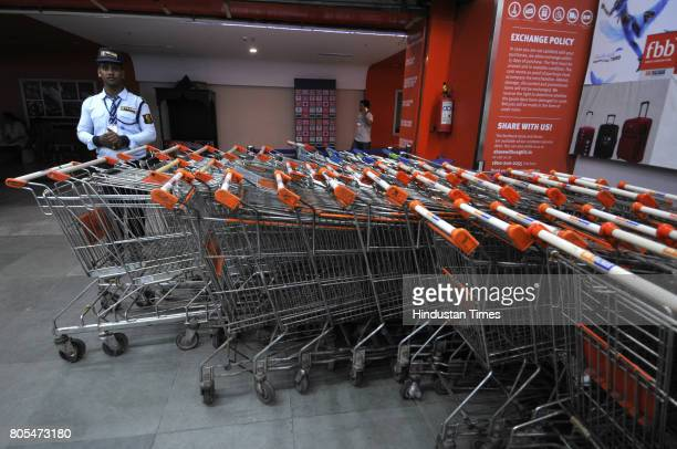 Rush witnessed at Big Bazaar outlet in Noida hours before the introduction of Good and services tax on July 1 2017 in Noida India
