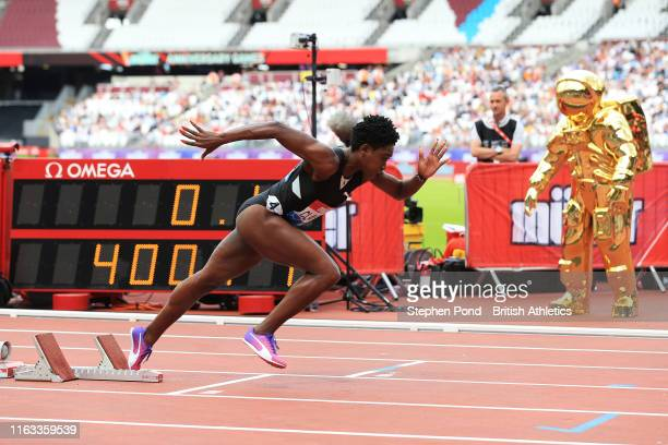 Rushell Clayton of Jamaica takes off out the starting blocks during the Women's 400m Hurdles during Day Two of the Muller Anniversary Games IAAF...