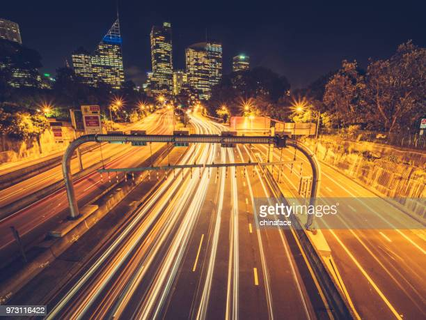 rush-hour traffic at night in downtown Sydney
