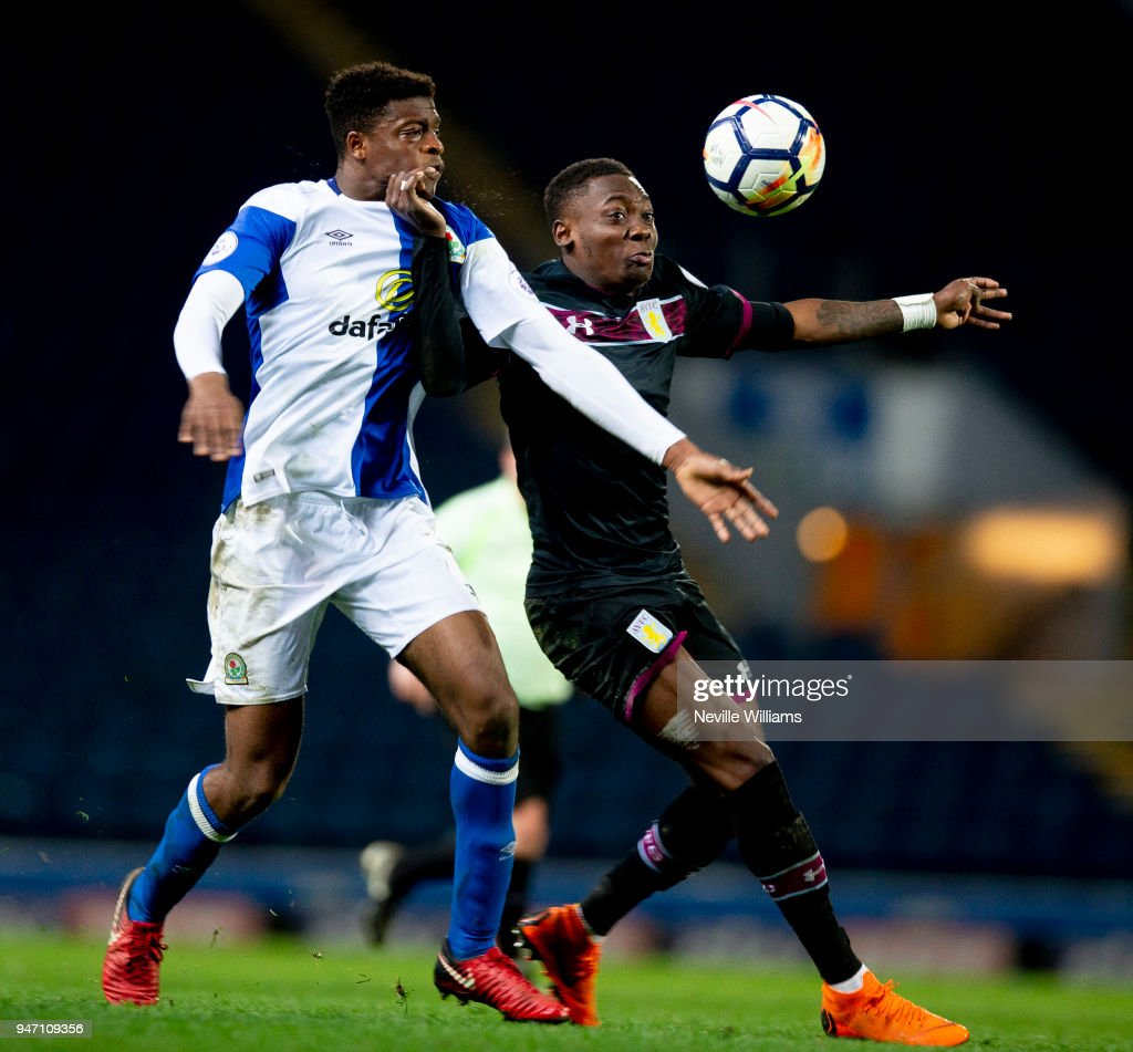 Rushian Hepburn-Murphy of Aston Villa during the Premier League 2 match between Blackburn Rovers and Aston Villa at Ewood Park on April 16, 2018 in Blackburn, England.