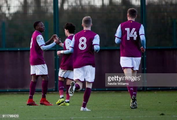 Rushian Hepburn-Murphy of Aston Villa scores for Aston Villa during the Premier League 2 match between Aston Villa and Middlesbrough at Bodymoor...
