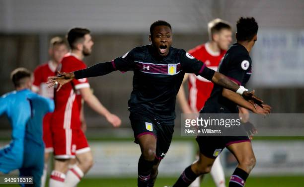 Rushian Hepburn-Murphy of Aston Villa scores his first goal for Aston Villa during the Premier League 2 Cup match between Middlesbrough and Aston...