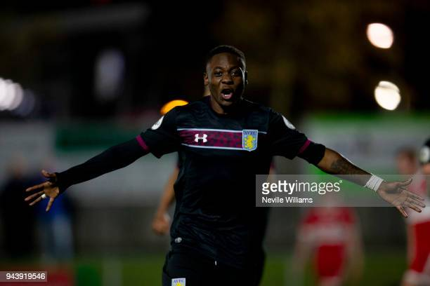 Rushian Hepburn-Murphy of Aston Villa scores his second goal for Aston Villa during the Premier League 2 Cup match between Middlesbrough and Aston...