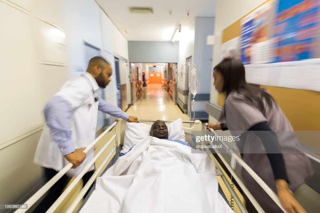 Rushing a patient to the Emergency room : Stock Photo
