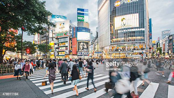 rushing around tokyo - shibuya ward stock pictures, royalty-free photos & images