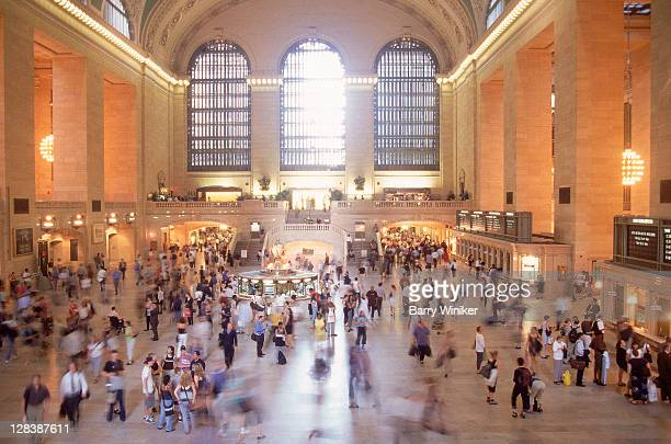 rushing commuters at grand central terminal - grand central station manhattan stock pictures, royalty-free photos & images