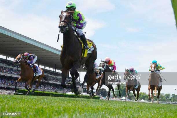 Rushing Fall with Jockey Javier Castellano up wins the Grade I Longines Just A Game Stakes at Belmont Park Race Track on June 8 2019 in Elmont New...