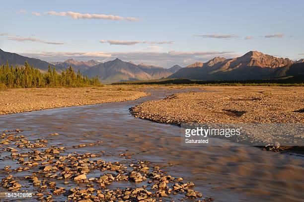 Rushing River in Denali National Park at Sunset