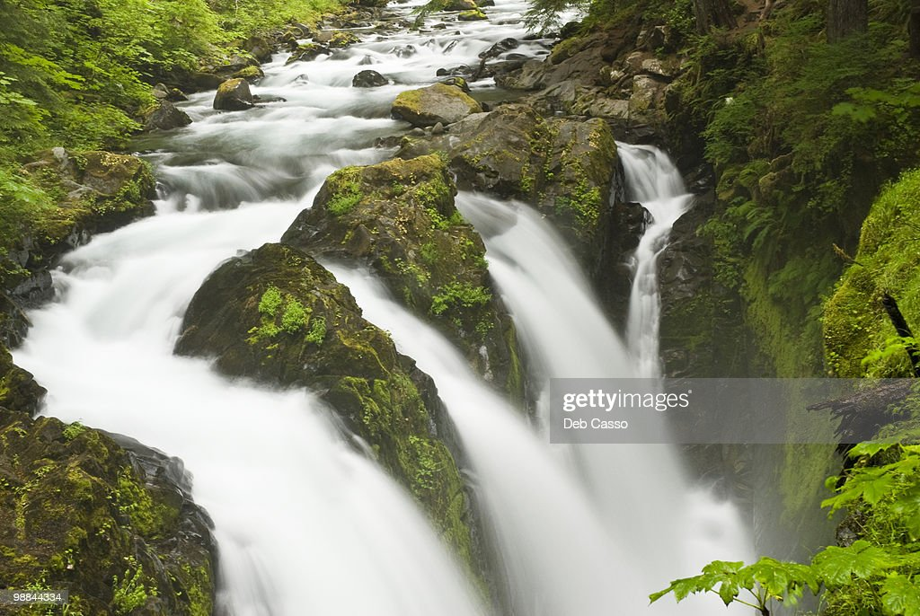 Rushing water in Sol Duc falls, Olympic National Park, Washington : Stock Photo