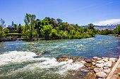 shoreline rushing waters truckee river reno