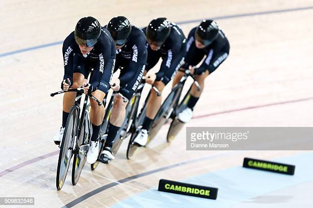 Rushlee Buchanan Lauren Ellis Jaime Nielsen and Georgia Williams of New Zealand during a 4000m Team Pursuit time trial at the New Zealand Track...