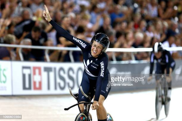Rushlee Buchanan of New Zealand celebrates finishing first in the Women's Team Pursuit during the 2018 UCI Track World Cup on January 18 2019 in...