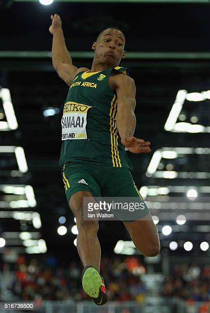 Rushwal Samaai of South Africa competes in the Men's Long Jump Final during day four of the IAAF World Indoor Championships at Oregon Convention...