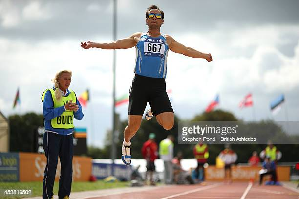 Rusian Katyshev of Ukraine on his way to winning the Men's Long Jump T11 event during day one of the IPC Athletics European Championships at Swansea...