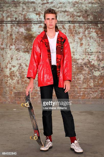 Ruskin Brown wearing shoes by Nike jacket by Wippette and Valentino jeans during MercedesBenz Fashion Week Resort 18 Collections at Carriageworks on...