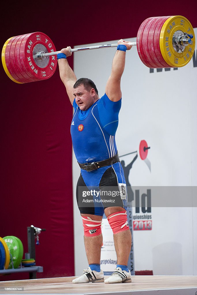 Ruslan Albegov from Russia lifts in the Clean & Jerk competition men's +105 kg Group A during weightlifting IWF World Championships Wroclaw 2013 at Centennial Hall in Wroclaw on October 27, 2013