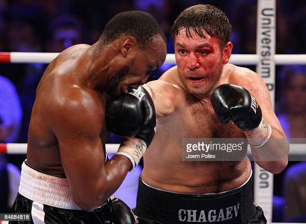 Ruslan Chagaev of Uzbekistan and Carl Davis Drumond of Costa Rica are seen in action during their WBA World Championship heavyweight fight at the...