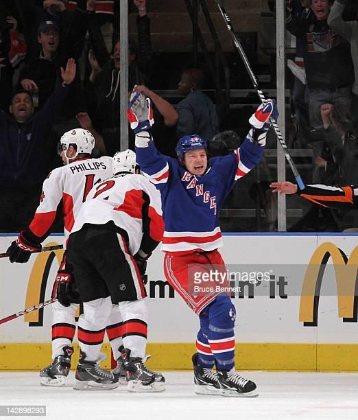 Ruslan Fedotenko of the New York Rangers celebrates a powerplay goal at 10:11 of the first period by Anton Stralman against the Ottawa Senators in...