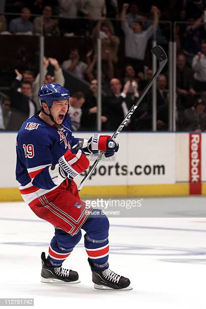 Ruslan Fedotenko of the New York Rangers celebrates after Marian Gaborik scored a goal in the second period against the Washington Capitals in Game...