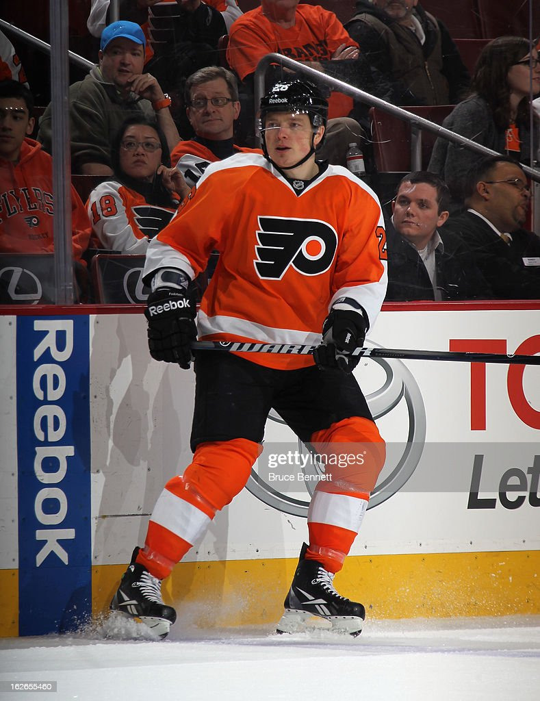 Ruslan Fedotenko #26 of the Philadelphia Flyers skates against the Florida Panthers at the Wells Fargo Center on February 21, 2013 in Philadelphia, Pennsylvania.