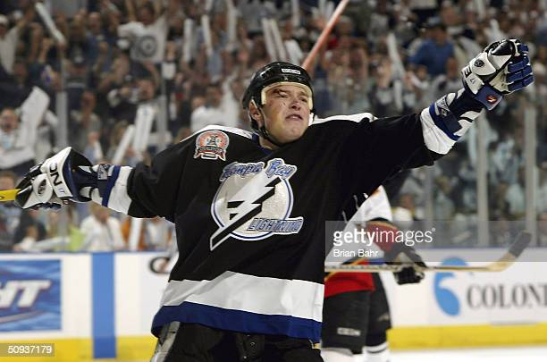 Ruslan Fedotenko of the Tampa Bay Lightning celebrates his first period goal against the Calgary Flames in game seven of the NHL Stanley Cup Finals...