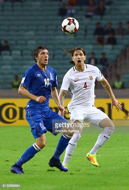 Ruslan Gurbanov of Azerbaijan in action against Stefan Strandberg of Norway during the UEFA 2018 World Cup Qualifying match between Azerbaijan and...