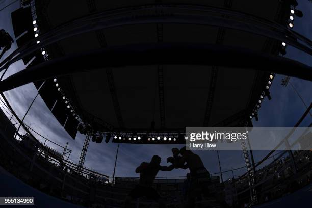 Ruslan Madiyev of Kazakhstan punches Jesus Perez of Mexico in the Super Lightweight Championship at StubHub Center on May 5, 2018 in Carson,...