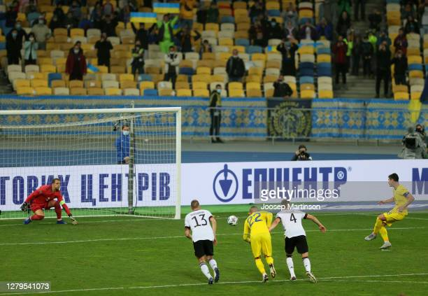 Ruslan Malinovskiy of Ukraine scores his team's first goal past Manuel Neuer of Germany by penalty during the UEFA Nations League group stage match...