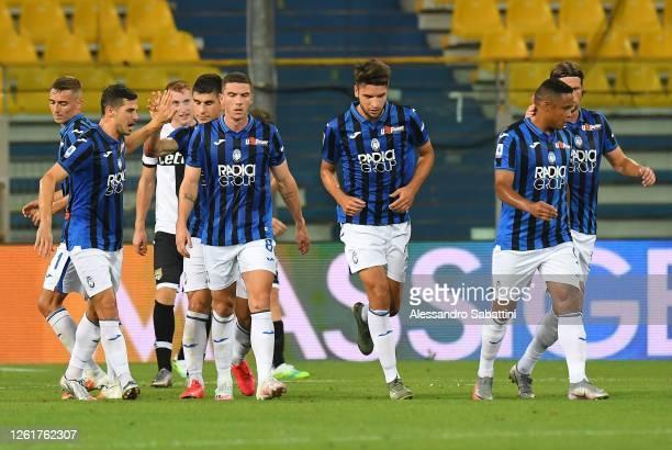Ruslan Malinovskyi of Atalanta BC celebrates after scoring the 1-1 goal during the Serie A match between Parma Calcio and Atalanta BC at Stadio Ennio...