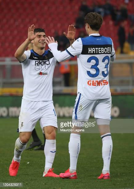 Ruslan Malinovskyi of Atalanta celebrates after scoring his team's 7th goal during the Serie A match between US Lecce and Atalanta BC at Stadio Via...