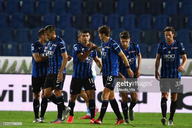 Ruslan Malinovskyi of Atalanta celebrates after scoring the second goal during the Serie A match between Atalanta BC and SS Lazio at Gewiss Stadium...