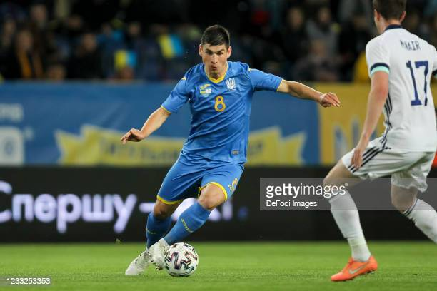 Ruslan Malinovskyi of Ukraine controls the ball during the international friendly match between Ukraine and Northern Ireland at Dnipro-Arena on June...