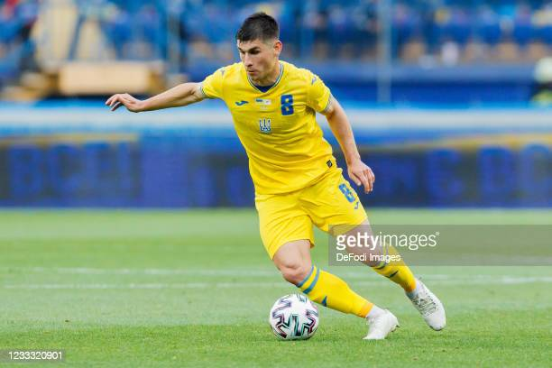 Ruslan Malinovskyi of Ukraine controls the ball during the international friendly match between Ukraine and Cyprus at Metalist Stadium on June 7,...