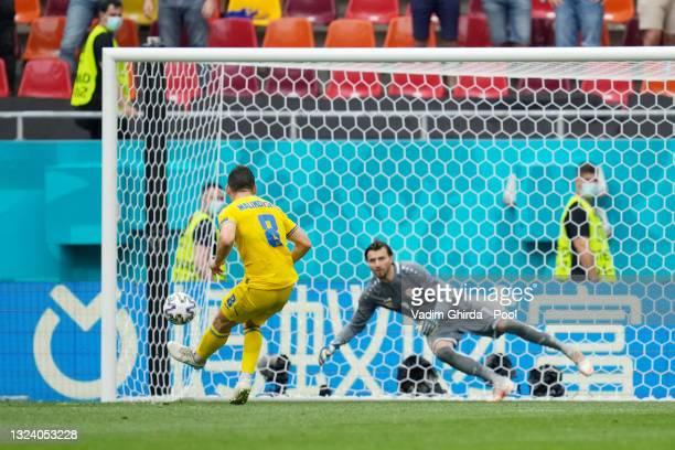 Ruslan Malinovskyi of Ukraine has a penalty saved by Stole Dimitrievski of North Macedonia during the UEFA Euro 2020 Championship Group C match...