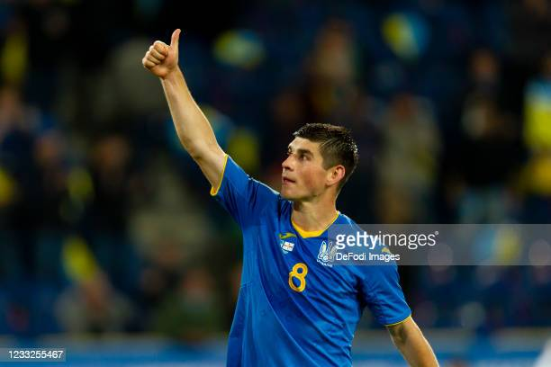 Ruslan Malinovskyi of Ukraine looks on during the international friendly match between Ukraine and Northern Ireland at Dnipro-Arena on June 3, 2021...