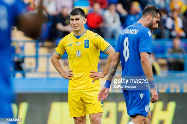 Ruslan Malinovskyi of Ukraine looks on during the international friendly match between Ukraine and Cyprus at Metalist Stadium on June 7, 2021 in...