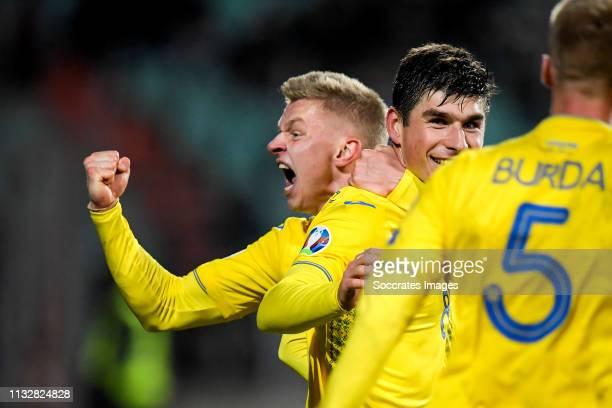 Ruslan Malinovskyi of Ukraine Oleksandr Zinchenko of Ukraine celebrate 12 during the EURO Qualifier match between Luxembourg v Ukraine at the Stade...