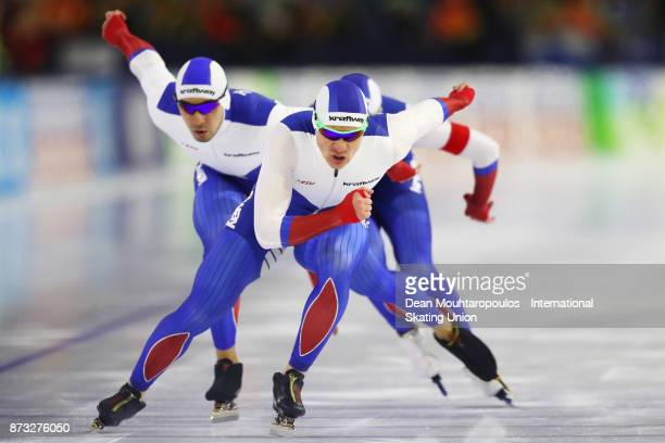 Ruslan Murashov Artyom Kuznetsov and Aleksey Yesin of Russia compete in the Men's Team Sprint event on day three during the ISU World Cup Speed...