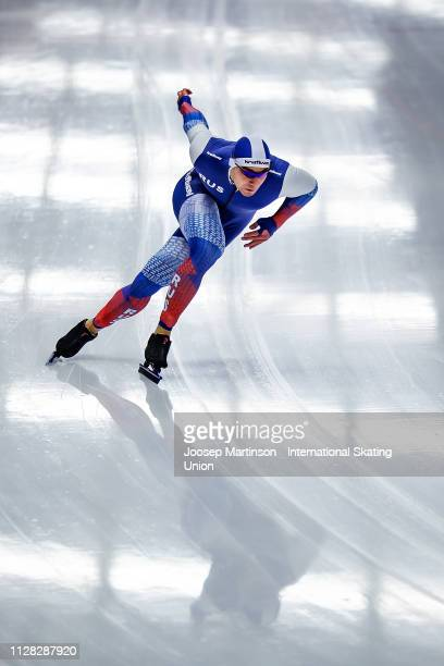 Ruslan Murashov of Russia competes in the Men's 500m during day 2 of the ISU World Single Distances Speed Skating Championships at Max Aicher Arena...