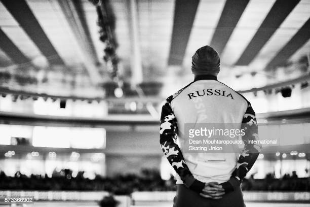 Ruslan Murashov of Russia looks on before he competes in the Mens 500m race on day two during the ISU World Cup Speed Skating held at Thialf on...